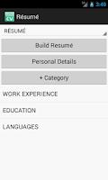 Screenshot of Resume / CV