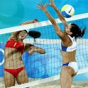 Beach volleyball jigsaw icon