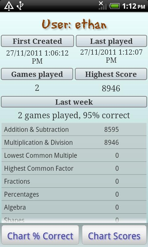 Maths Bug, mental maths games - screenshot