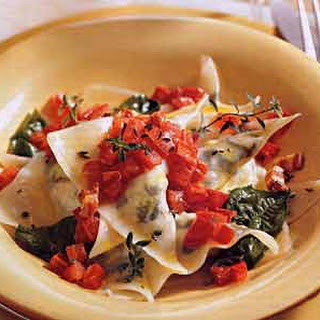 Goat Cheese-Arugula Ravioli with Tomato-Pancetta Butter.