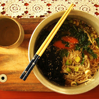 Japanese Miso and Soba Noodle Soup.