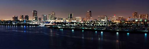 Long-Beach-California-panorama - The bright lights of Long Beach, California, a major cruise port on the West Coast.