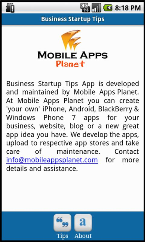 Business Startup Tips - screenshot