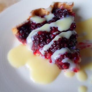 Fresh Blackberry Tart with Spiked Creme Anglaise.