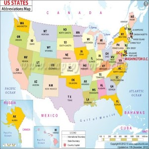 List Of American States Capitals Of US States Abbreviations Of