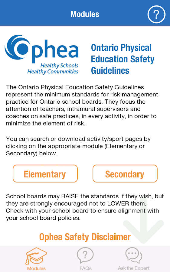 Ophea Safety Guidelines- screenshot