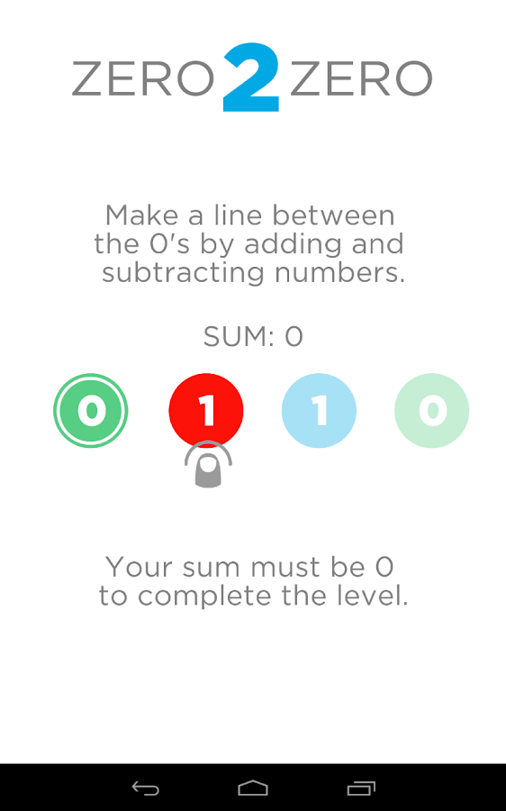 Zero 2 Zero - Number Puzzles- screenshot