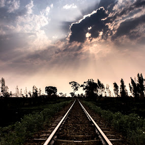 Stay on the rails by Hilton Viney - Landscapes Cloud Formations ( canon, clouds, eos, trainrails, rails, sunset, sunrays, 600d )