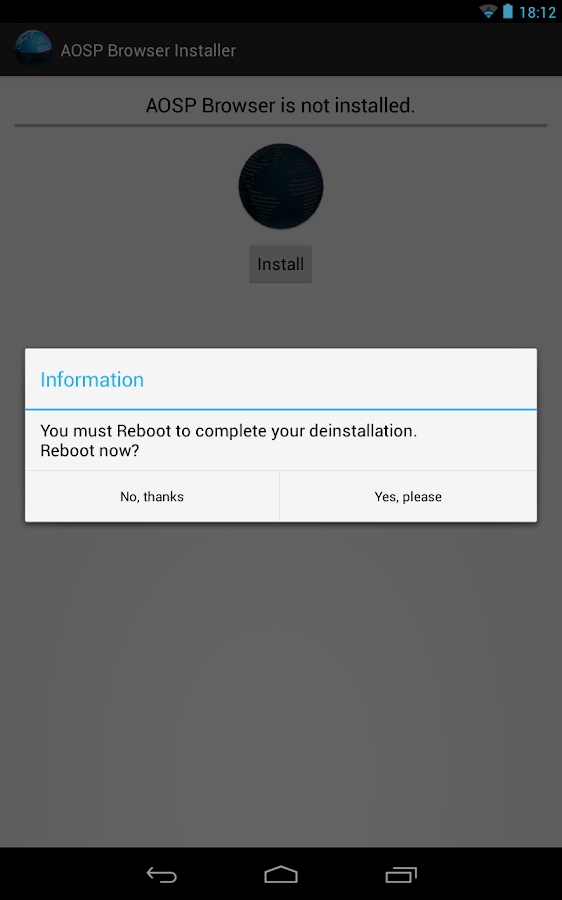 [ROOT]AOSP Browser Installer- screenshot