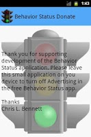 Screenshot of Behavior Status Donate