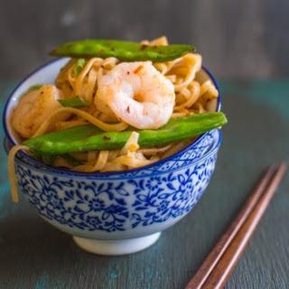 Rice Noodles with Shrimp & Snow Peas.