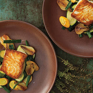 Halibut with Spring Onion and Summer Squash Saute.