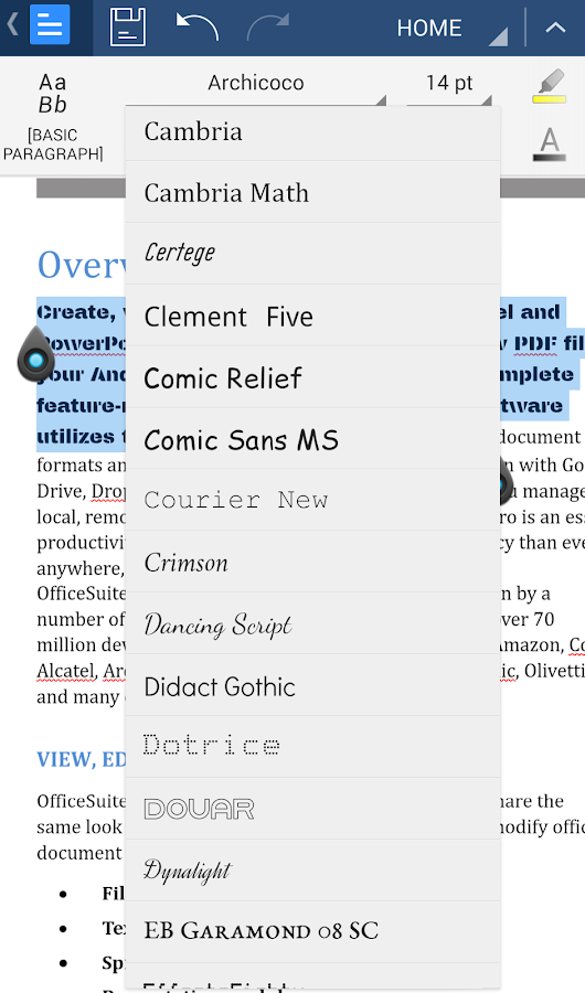 OfficeSuite Font Pack - screenshot