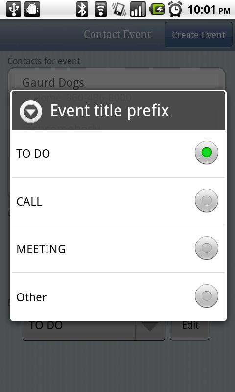 Contact Event - screenshot