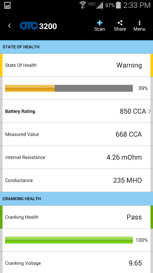 OTC 3200 Smart Battery Tester- screenshot