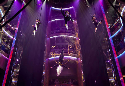 Rhapsody-of-the-Seas-Centrum-aerial-show -  An eye-popping aerial performance at the Centrum, a six-deck atrium and hub of Rhapsody of the Seas.