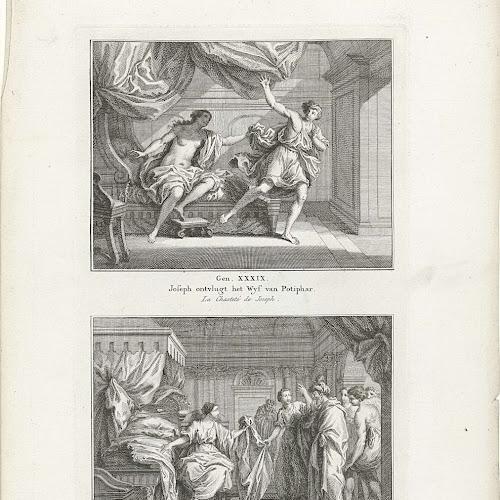 jozef ontvlucht potifars vrouw en jozef door potifars