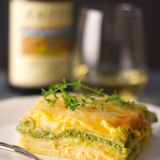 Lasagna with Butternut Squash Sauce and Creamy Spinach Pesto