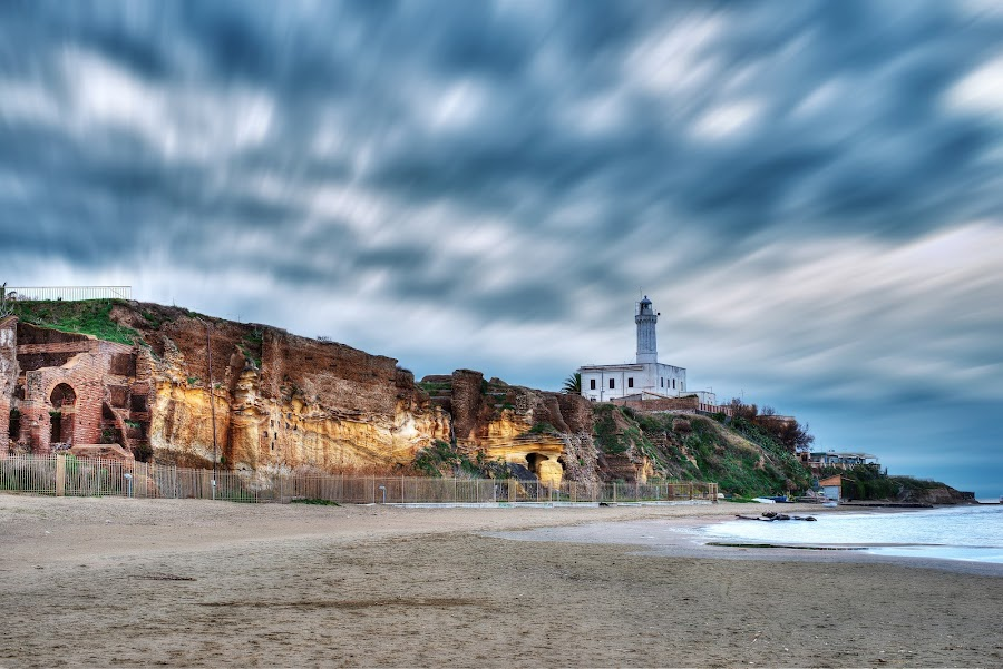Lighthouse at Anzio by Marco D'abbruzzi - Landscapes Beaches ( water, clouds, lighthouse, beach, anzio, faro,  )