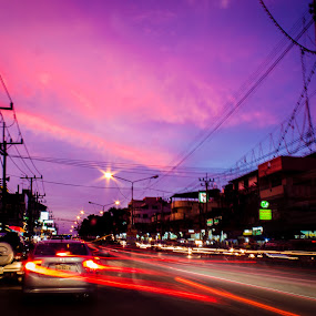 Cowboy town. by Michael Tan - City,  Street & Park  Street Scenes ( sunset, danok, thailand, town, evening )