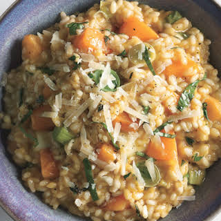 Risotto with Butternut Squash, Leeks, and Basil.
