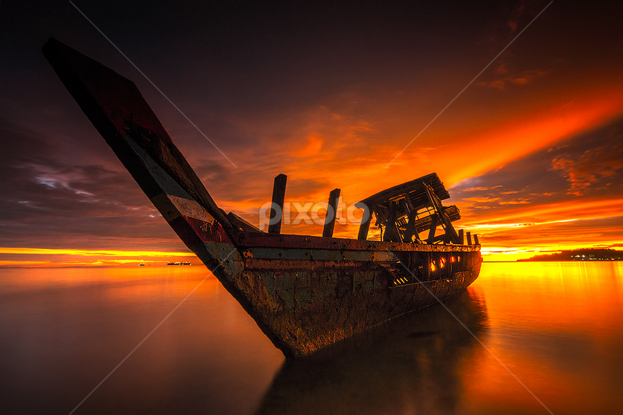Shipwreck and Twilight by Ade Noverzan - Transportation Boats ( shipwreck, padang, sunset, twilight, beach, dusk )