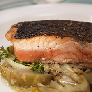 King Salmon with Braised Fennel and Artichokes.