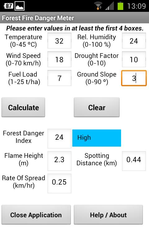Forest Fire Danger Meter- screenshot