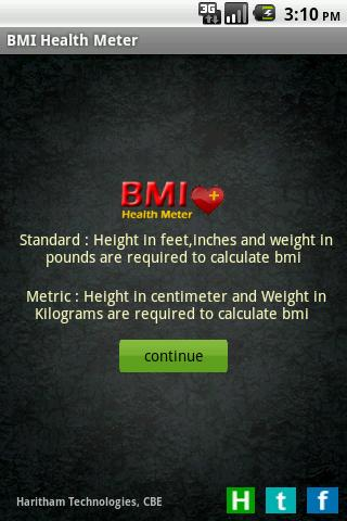 BMI Health Meter Lite - screenshot