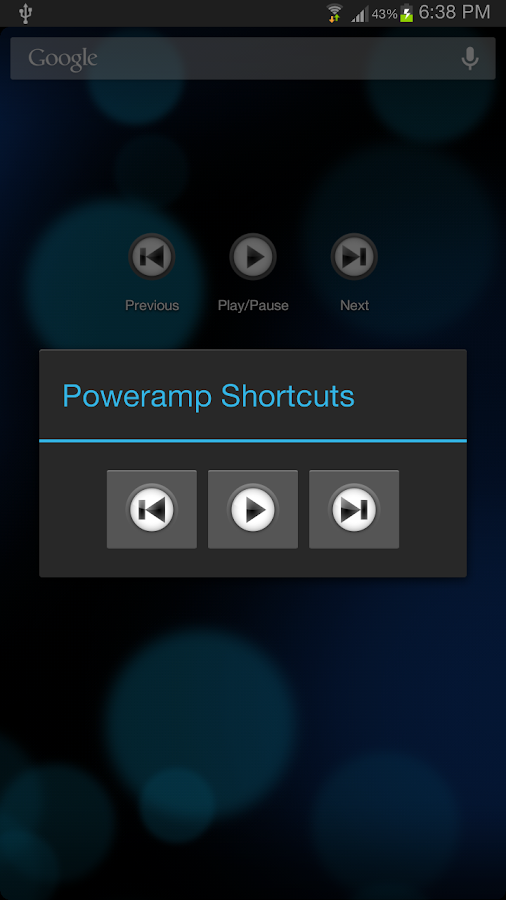 Poweramp Media Shortcuts - screenshot