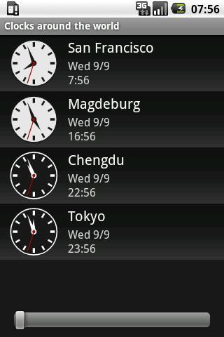 Clocks around the world- screenshot