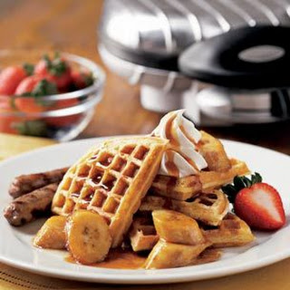Waffles with Maple-Glazed Bananas