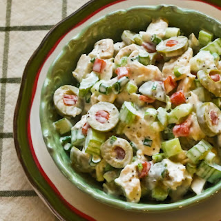 Shredded Chicken Salad with Green Olives, Celery, and Green Onion.