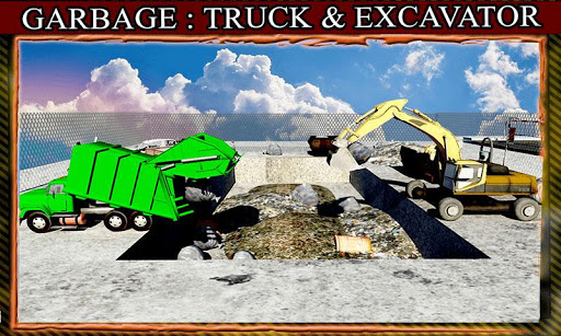 垃圾:卡车和挖掘机