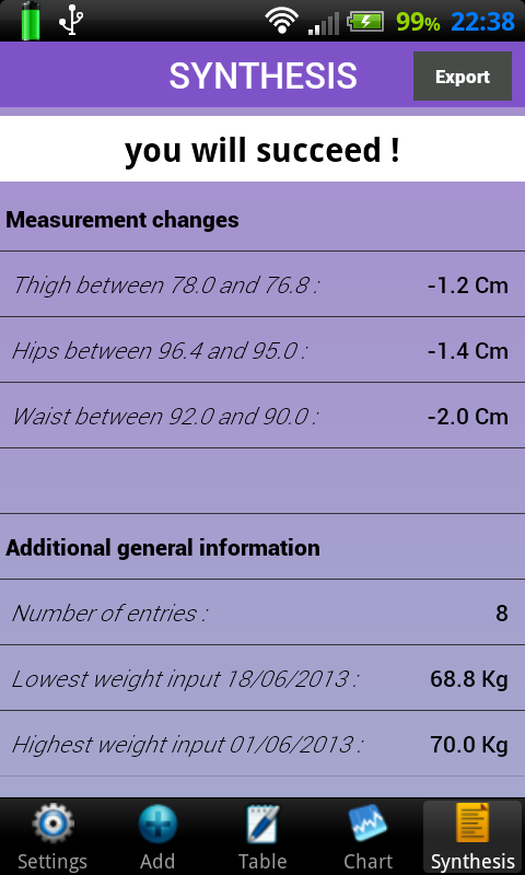 Weigh-In Deluxe Weight Manager - screenshot