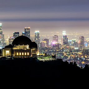 Griffith Park Observatory by Jay R Vismanos - Landscapes Travel ( mountain, what a photo, nice, cityscape, landscape, money shot, dtla, wow, overlook, downtown los angeles, night photography, griffith park, buildings, best, los angeles, long exposure, photo of the day, downtown, night scene, damn, griffith park observatory, nightscape, there it is, amazing, best landscape, overview, landscape photography, best photo, landscapes, night shot, fabulous, Urban, City, Lifestyle )