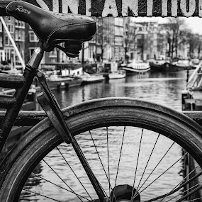 Chained by Gerd Moors - Black & White Objects & Still Life ( black and white, chain, amsterdam, bicycle, street photography,  )