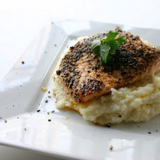 Black Peppercorn Salmon and Monterey Jack Grits.