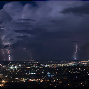 Storm by Dirk Luus - Landscapes Weather ( stormy, lightning, electric, weather, city,  )