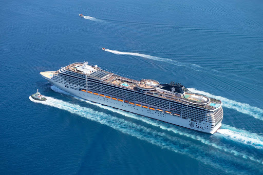 MSC-Divina-at-sea - MSC Divina, sleek and modern, sails to Eastern and Western Caribbean destinations.