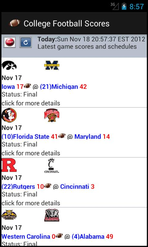 College Football Scores (NCAA)- screenshot