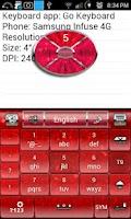 Screenshot of Red Glitter Keyboard Skin