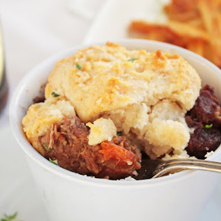 Beef in Stout with Cheddar Thyme Dumplings.