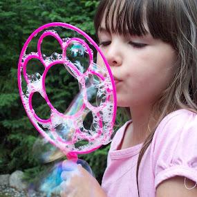 Girl by Char Robertson - Babies & Children Child Portraits ( child, long hair, beautiful, bubbles, pretty, kid,  )