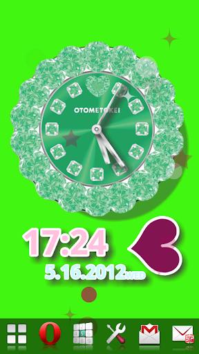 玩免費個人化APP|下載[FREE]オトメトケイ ライブ壁紙 グリーン app不用錢|硬是要APP