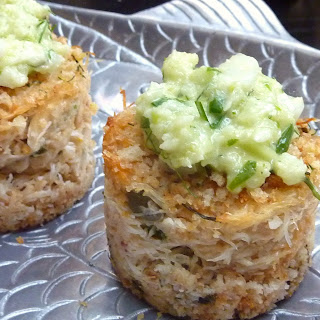 Mini-Crabcakes with Celery Root - Fennel Slaw.
