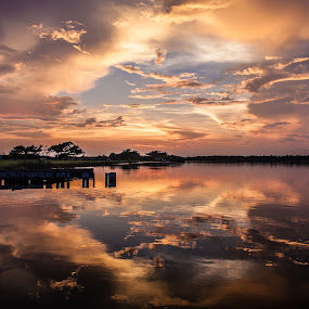 October Fire by Shelley Patterson - Landscapes Sunsets & Sunrises ( water, gulf shores, sunset, reflections, alabama, orange beach )