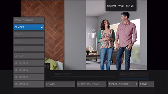 Legacy Google Fiber TV closed captioning