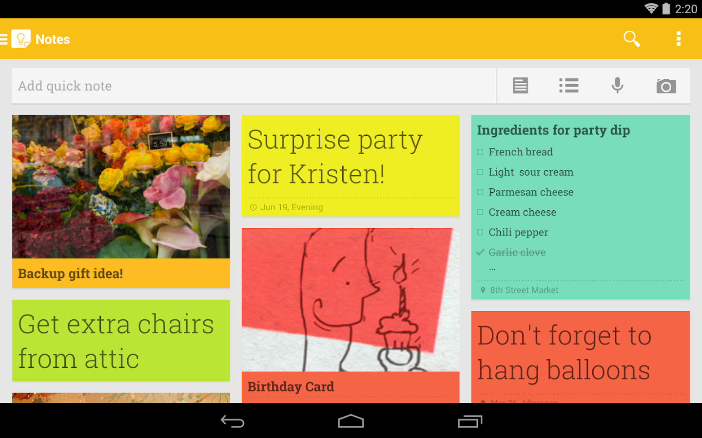 Google Keep - screenshot