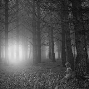 Finding the light by Michelle Denniston - Black & White Portraits & People ( child, black and white, fine art, dark, forest, light )